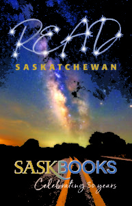 cover image of SaskBooks' catalogue showing a starry sky over a long, straight road